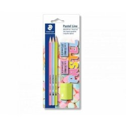 Ołówek Norica sześciokątny Pastel Line 2HB 3 sztuki + 2 gumki + temperówka