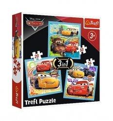 Puzzle 3w1 Auta Przygotowania do wyścigu