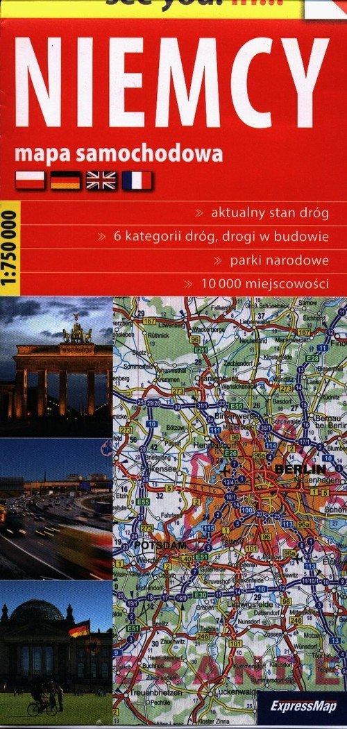 Niemcy mapa samochodowa 1:750 000