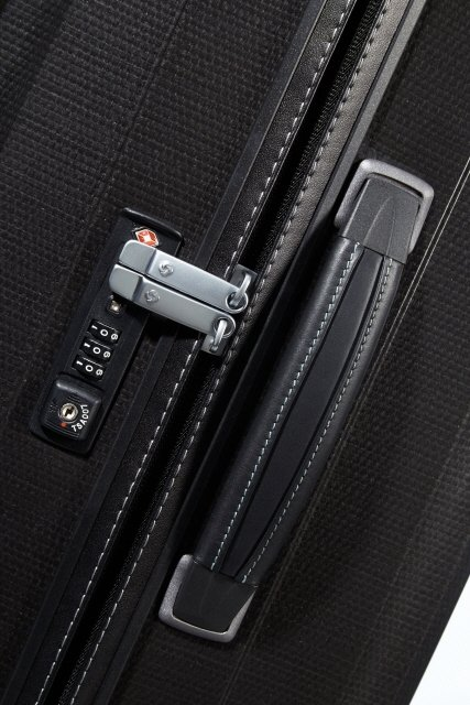 boczna skórzana rączka, płaski zamek szyfrowy z systemem TSA