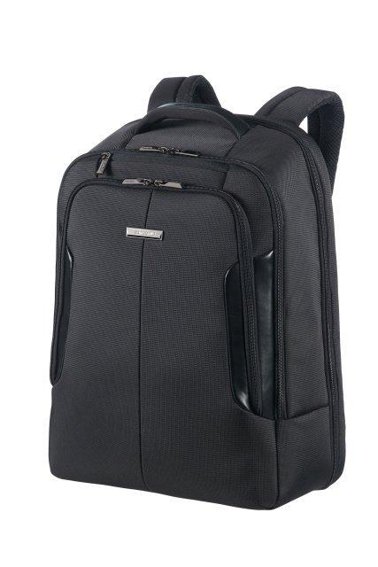 """Plecak na laptopa 17,3"""" wykonany z poliestru łączonego z nylonem oraz elementami ekoskóry"""