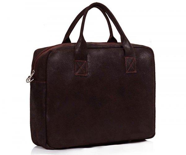 Skórzana torba na laptopa Solome horse ciemno brązowa skos