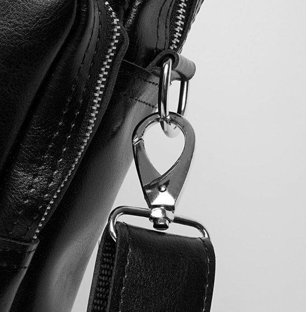 Skórzana torba na laptop Solome premier czarna detal 2