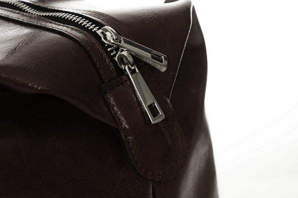 Skórzana torba podróżna weekendowa solome premier brązowa detal 3