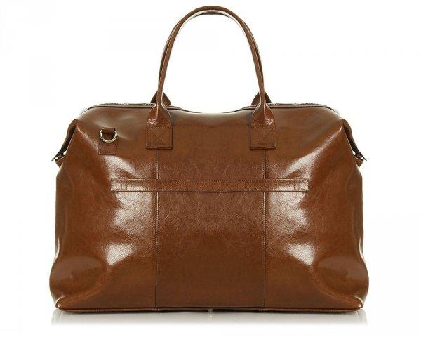 Skórzana torba weekendowa podróżna Solome Premier brązowa tył