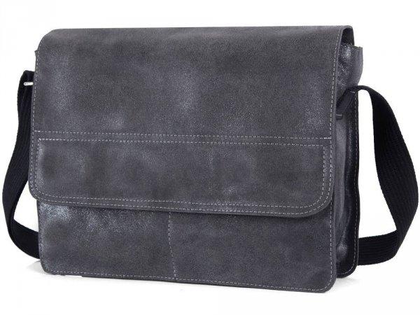 Skórzana torba męska na ramię Solome Blackrok jasno szara vintage skos