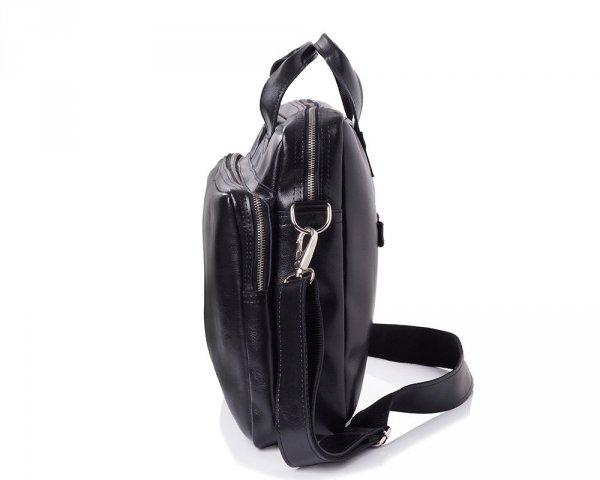 Skórzana torba na laptop Solome premier czarna bok
