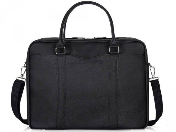Skórzana torba na laptop Solome Ring 02 czarna przód