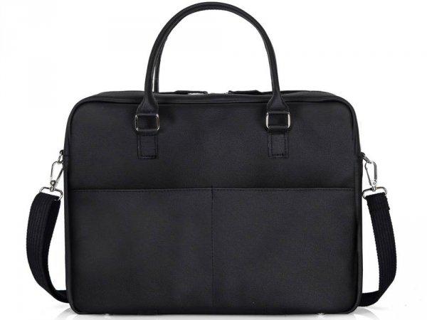 Skórzana torba na laptop Solome Ring 02 czarna tył