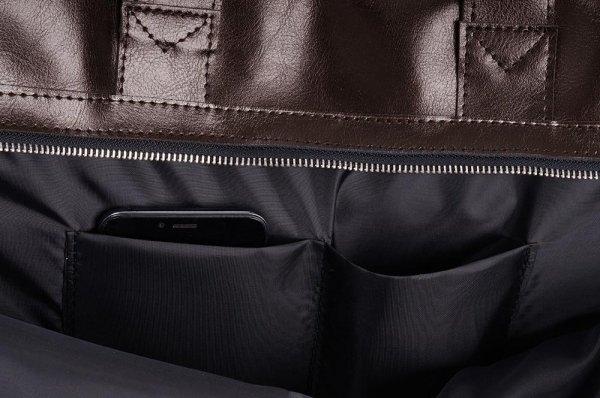Skórzana torba na laptop Solome premier brązowa detal