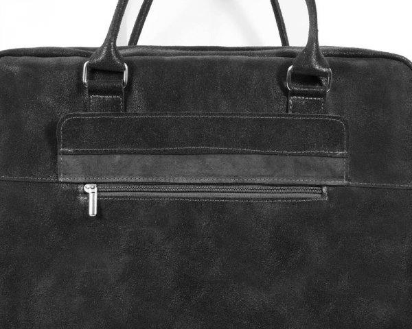 Skórzana torba męska na ramię Solome Alston ciemno szara detal
