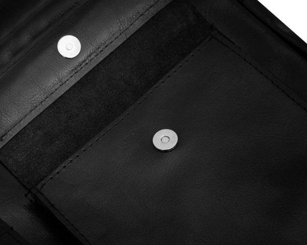 Skórzana męska torba na ramię Solome Lago 02 czarna błyszcząca detal