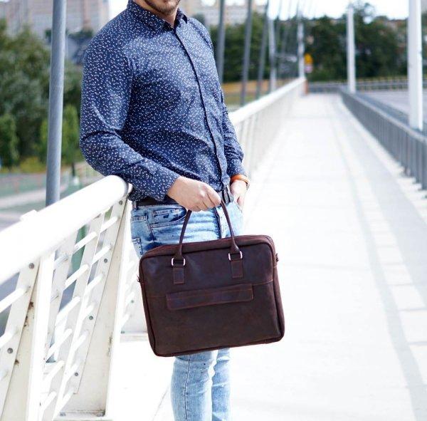 Skórzana torba męska na laptop Solome Alston brązowa detal