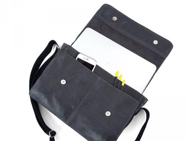 Skórzana torba męska na ramię Solome Blackrok jasno szara vintage detal