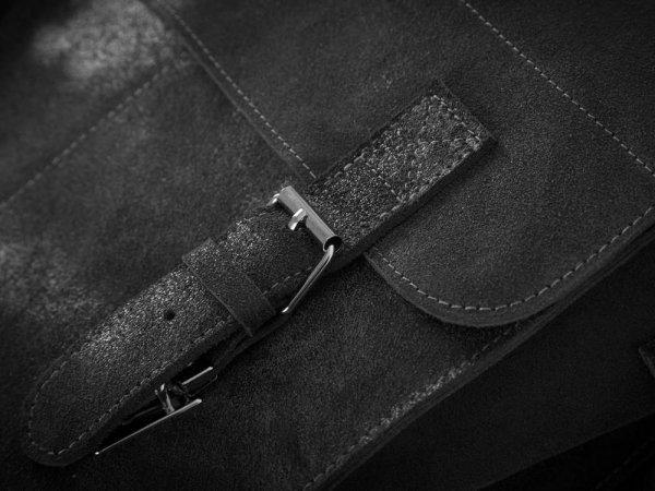 Skórzana męska torba na ramię Solome Lago 03 szara detal