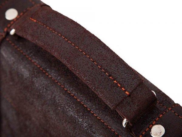 Skórzana męska torba na ramię Solome Lago 02 brązowa detal