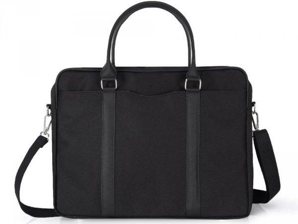 Skórzana torba na laptop Solome Ring 01 czarna Codura przód