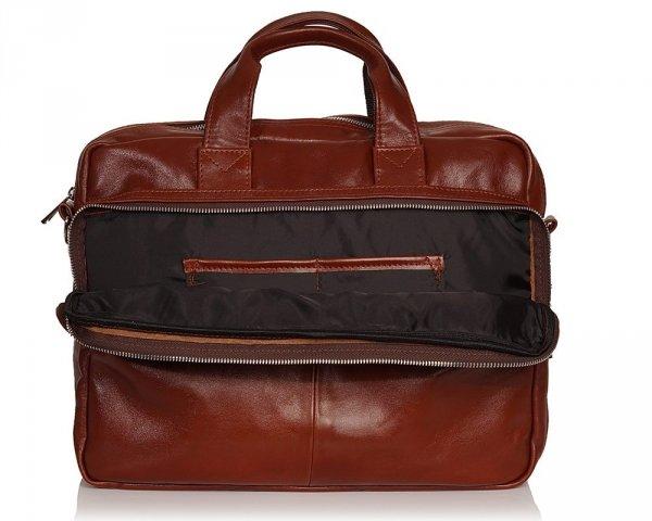 Skórzana torba na laptopa Solome premier karmel detal