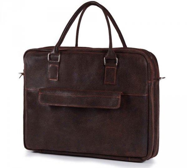 Skórzana torba męska na laptop Solome Alston brązowa skos