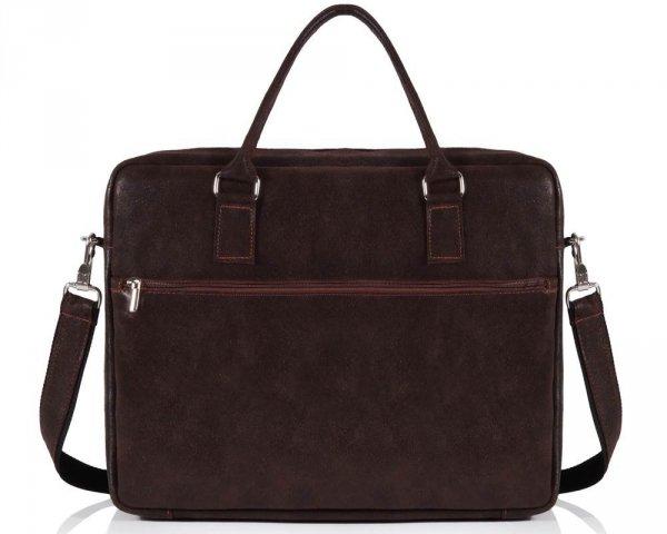Skórzana torba męska na laptop Solome Alston brązowa tył