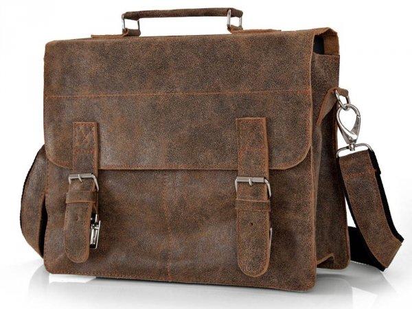 Skórzana męska torba na ramię Solome Lago 03 brązowa vintage skos