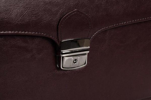 Skórzana teczka męska Solome royal leather brązowa II detal 1