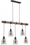 INDUSTRIALNA LAMPA WISZĄCA NAD STÓŁ DREWNIANA BELKA ITALUX REDA PND-4793-5-L