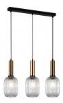 NOWOCZESNA SZKLANA LAMPA WISZĄCA ITALUX ANTIOLA PND-5588-3M-BRO+CL DESIGNERSKA LOFT