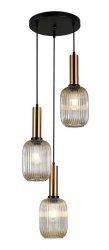 NOWOCZESNA SZKLANA LAMPA WISZĄCA ITALUX ANTIOLA PND-5588-3AM-BRO+AMB DESIGNERSKA LOFT