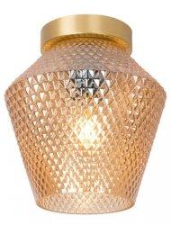 ZŁOTA LAMPA SUFITOWA W STYLU GLAMOUR PLAFON SUFITOWY BURSZTYNOWE KLOSZ