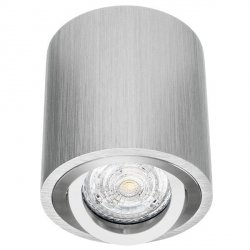 LAMPA SUFITOWA DOWNLIGHT TUBA SREBRNA ALUMINIUM SZCZOTKOWANE NOWOCZESNA / PROMOCJA