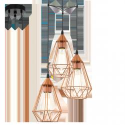 MIEDZIANA LAMPA WISZĄCA VINTAGE EGLO TARBES COPPER 94196 DRUCIANA PAJĄK