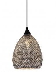 SZKLANA SREBRNA LAMPA WISZĄCA W STYLU GLAMOUR ITALUX SANIYA MDM3349/1 BK+SL