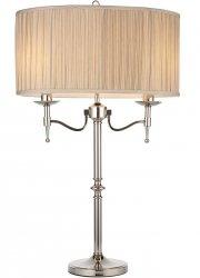 NIKLOWANA LAMPA STOŁOWA Z BEŻOWYM ABAŻUREM STANFORD NICKEL 63650 ENDON INTERIORS 1900 STYLOWA LAMPA NOCNA PAŁACOWY STYL CHROM GLAMOUR