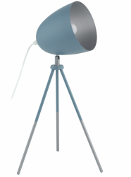 EGLO CHESTER-P 49045 PASTELOWA LAMPA STOŁOWA NOCNA NA TRÓJNOGU NIEBIESKA VINTAGE LOFT