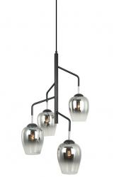 LOFTOWA LAMPA WISZĄCA ITALUX LESLA PEN-5359-4-BKCR CHROMOWA, SZKLANE KLOSZE