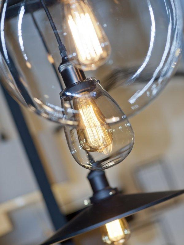 LAMPA WISZĄCA WARSAW 30cm SZKLANA OKRĄGŁA