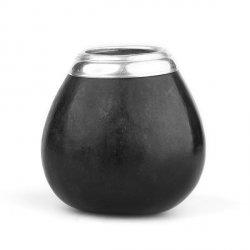 Calabaza Negro Con Virola Aluminio - Tykwa do yerba mate - Czarna