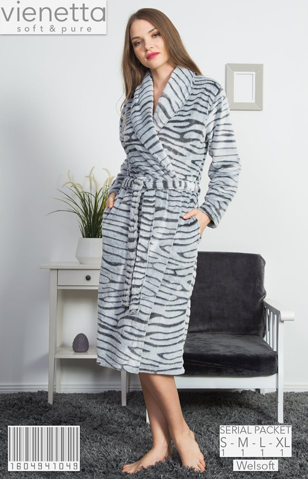 Vienetta Szlafrok damski z polaru Zebra-Długi