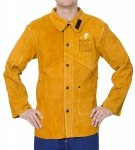 WELDAS-Golden Brown™ skórzana kurtka spawalnicza z dwoiny bydlęcej z plecami z trudnopalnej bawełny 44-2530P/XL