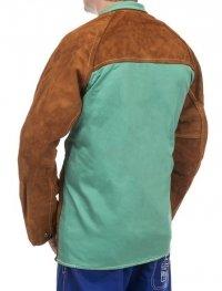 WELDAS-Lava Brown™ skórzana kurtka spawalnicza z dwoiny bydlęcej z plecami z trudnopalnej bawełny 44-7300/P XXL