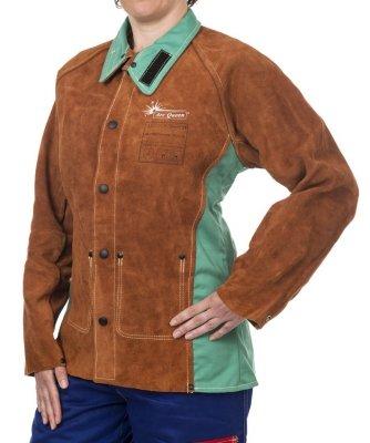 WELDAS-Kurtka spawalnicza dla kobiet z dwoiny bydlęcej z plecami z trudnopalnej bawełny LAVA BROWN ARC QUEEN 44-7300 M/P-AQ