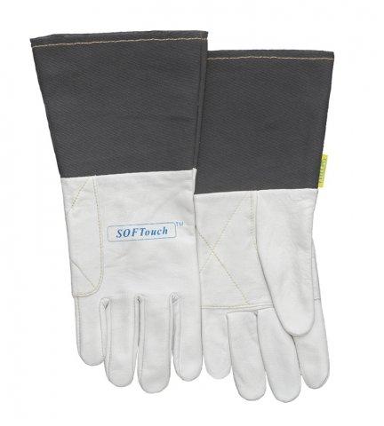 WELDAS-SOFTouch™ rękawica spawalnicza z licowej skóry koziej, mankiet został wykonany z szarego, trudnopalnego materiału 10-1004 L