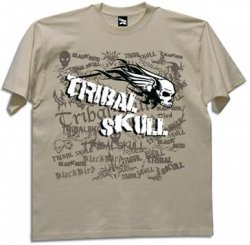 Blackbird tribal skull koszulka natural