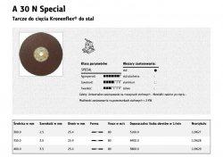 KLINGSPOR TARCZA DO CIĘCIA METALU 400mm x 3,5mm x 25,4mm  A30N Special STAL