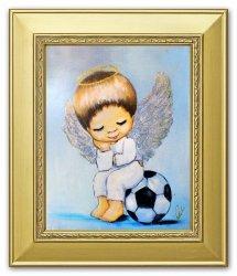 Obraz ręcznie malowany Aniołek z piłką 27x32cm  G101640