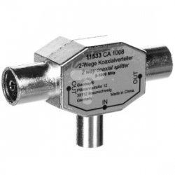 Rozdzielacz sygnału TV splitter 1x IEC męski / 2x IEC żeński 11533