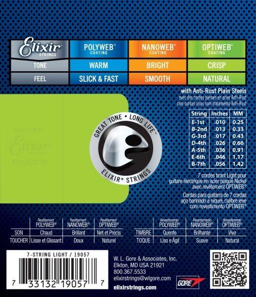 Elixir 19057 7-String Light 10-56