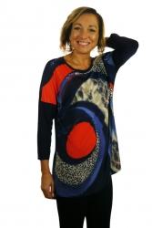 Bluzka, kimono, rękaw 3/4, wzór z przodu, Kreator Studio Mody, rozmiar 46
