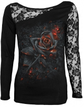 Burnt Rose - Lace One Shoulder Spiral - Damska